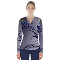 Patterns Lines Colorful  V Neck Long Sleeve Top