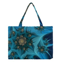 Fractal Flower White Medium Tote Bag