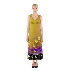 Patterns Waves Butterfly Sleeveless Maxi Dress