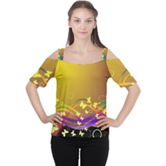 Patterns Waves Butterfly Cutout Shoulder Tee