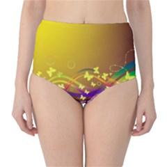 Patterns Waves Butterfly High Waist Bikini Bottoms