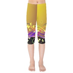 Patterns Waves Butterfly Kids  Capri Leggings