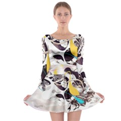 Surrealism Paint Animal  Long Sleeve Skater Dress