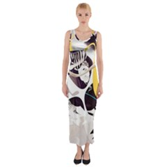 Surrealism Paint Animal  Fitted Maxi Dress