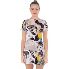 Surrealism Paint Animal  Drop Hem Mini Chiffon Dress