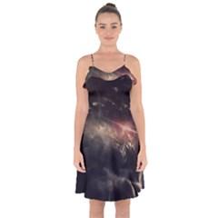Face Light Profile Ruffle Detail Chiffon Dress