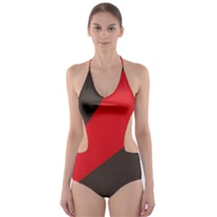 Lines Background Light  Cut Out One Piece Swimsuit