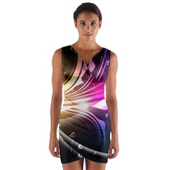 545 Patterns Lines Flying  Wrap Front Bodycon Dress