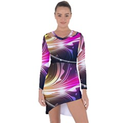 545 Patterns Lines Flying  Asymmetric Cut Out Shift Dress