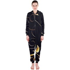 Patterns Butterfly Black Background  Hooded Jumpsuit (ladies)