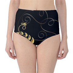 Patterns Butterfly Black Background  High Waist Bikini Bottoms