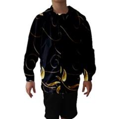 Patterns Butterfly Black Background  Hooded Wind Breaker (kids)