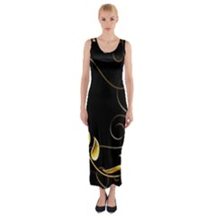 Patterns Butterfly Black Background  Fitted Maxi Dress