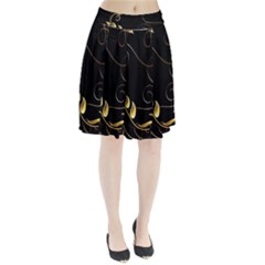Patterns Butterfly Black Background  Pleated Skirt