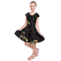 Patterns Butterfly Black Background  Kids  Short Sleeve Dress