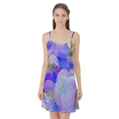 Flowers Abstract Colorful  Satin Night Slip