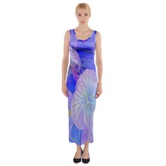 Flowers Abstract Colorful  Fitted Maxi Dress
