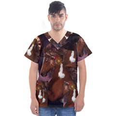 Steampunk Wonderful Wild Horse With Clocks And Gears Men s V Neck Scrub Top