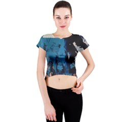 Abstraction Stains Paint  Crew Neck Crop Top