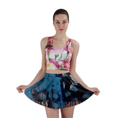 Abstraction Stains Paint  Mini Skirt