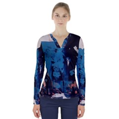 Abstraction Stains Paint  V Neck Long Sleeve Top