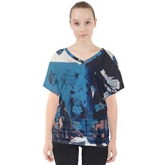 Abstraction Stains Paint  V Neck Dolman Drape Top