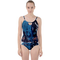 Abstraction Stains Paint  Cut Out Top Tankini Set