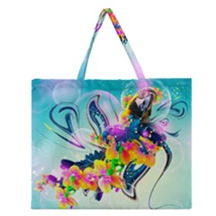 Parrot Abstraction Patterns Zipper Large Tote Bag