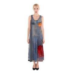 Abstract Paint Stain  Sleeveless Maxi Dress