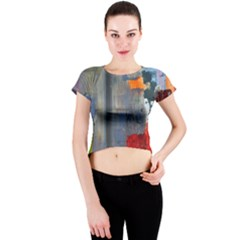 Abstract Paint Stain  Crew Neck Crop Top