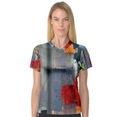 Abstract Paint Stain  V Neck Sport Mesh Tee