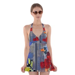 Abstract Paint Stain  Halter Swimsuit Dress