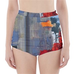 Abstract Paint Stain  High Waisted Bikini Bottoms