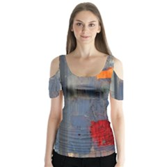 Abstract Paint Stain  Butterfly Sleeve Cutout Tee