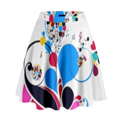 Patterns Colorful Bright  High Waist Skirt