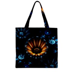 Fractal Flowers Abstract  Zipper Grocery Tote Bag