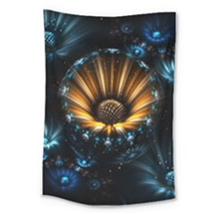 Fractal Flowers Abstract  Large Tapestry