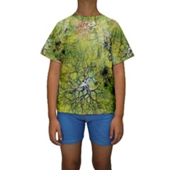 Abstract Spots Lines Kids  Short Sleeve Swimwear