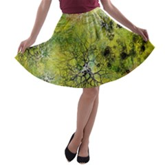 Abstract Spots Lines A Line Skater Skirt
