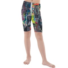 Psychedelic Abstraction Pattern  Kids  Mid Length Swim Shorts
