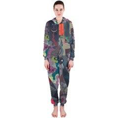 Psychedelic Abstraction Pattern  Hooded Jumpsuit (ladies)