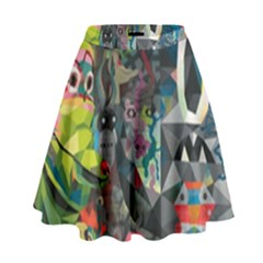 Psychedelic Abstraction Pattern  High Waist Skirt