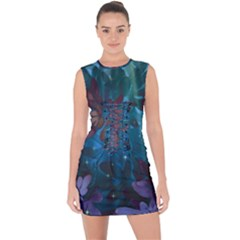Flowers Patterns Purple Lace Up Front Bodycon Dress