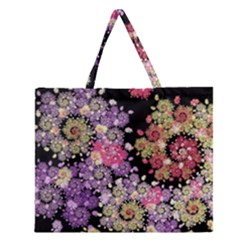 Abstract Patterns Fractal  Zipper Large Tote Bag
