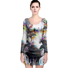 Abstraction Painting Girl  Long Sleeve Bodycon Dress
