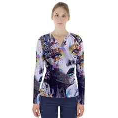Abstraction Painting Girl  V Neck Long Sleeve Top