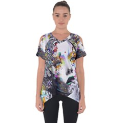 Abstraction Painting Girl  Cut Out Side Drop Tee