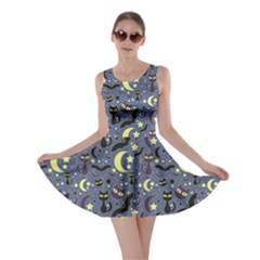 Blue Cute Pattern Night Life Cats And Bats Skater Dress