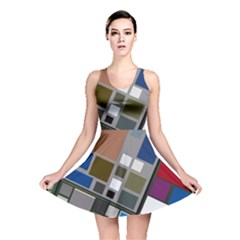 Abstract Composition Reversible Skater Dress