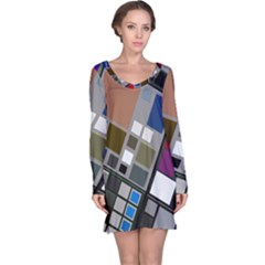 Abstract Composition Long Sleeve Nightdress